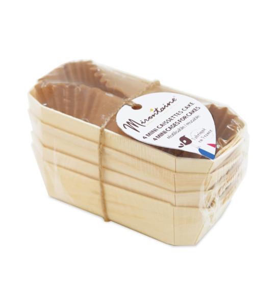 4 mini-caissettes à cake en bois