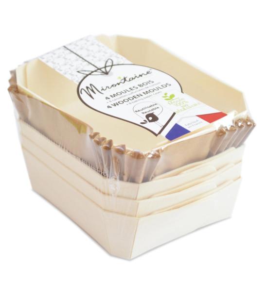 4 mini-moules rectangles en bois + 8 caissettes