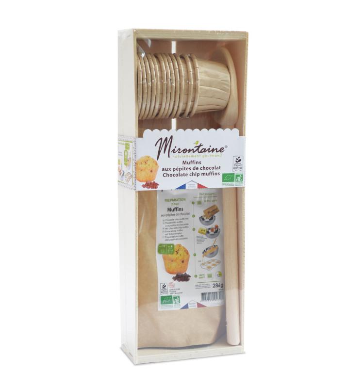 Coffret bois mini-muffins pépites de chocolat